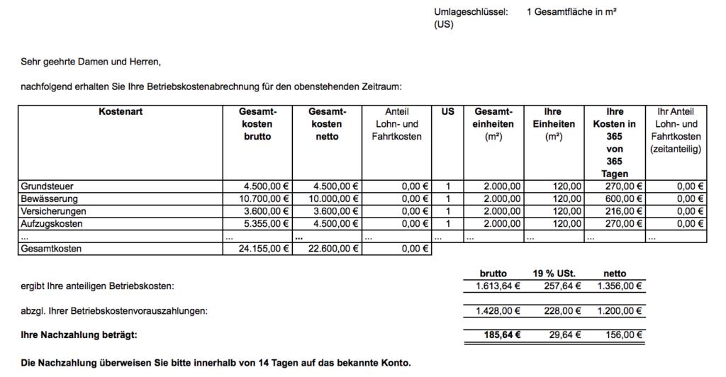 Nebenkostenabrechnung mit Mehrwertsteuer