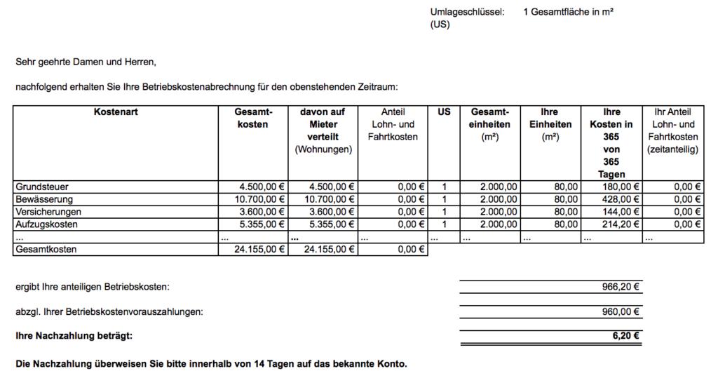 Nebenkostenabrechnung ohne Mehrwertsteuer