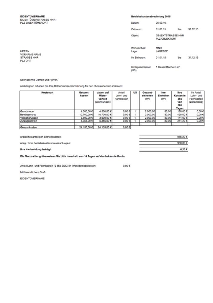 nebenkosten-blog Form der Nebenkostenabrechnung