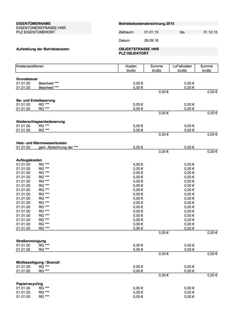 Zusammenstellung Gesamtkosten
