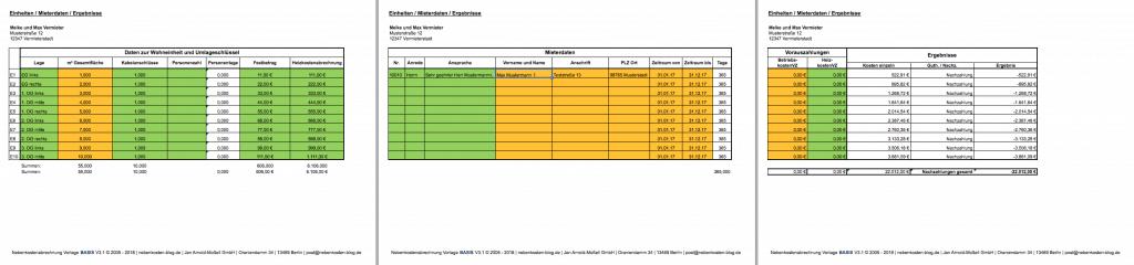 Excel-Vorlage Nebenkosten