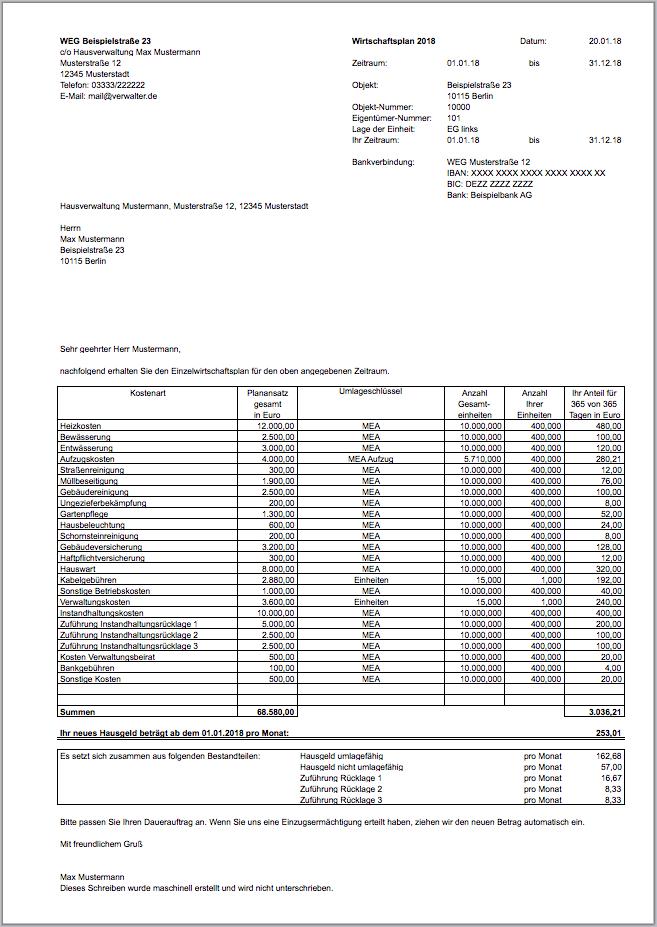 Excel Vorlage Wirtschaftsplan Weg Nebenkosten Blog De