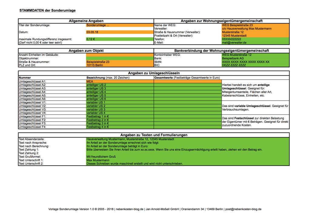 Handbuch Excel-Vorlage Sonderumlage | nebenkosten-blog.de
