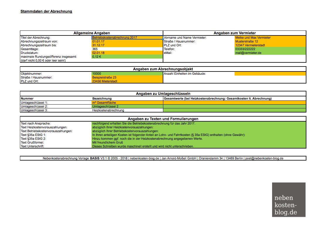 Handbuch Excel-Vorlage Nebenkosten BASIS | nebenkosten-blog.de