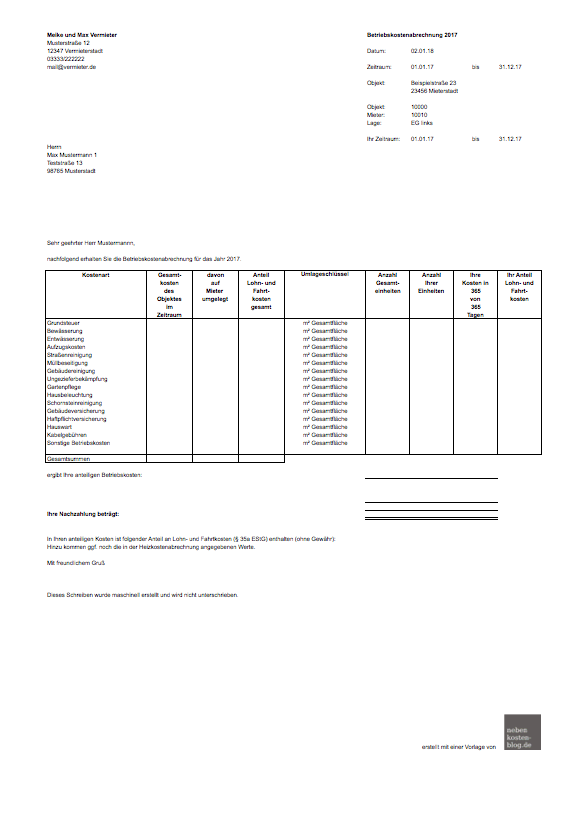 Handbuch Excel Vorlage Nebenkosten Basis Nebenkosten Blogde