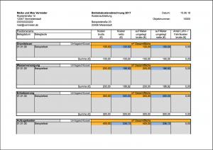 Vorlage Nebenkostenabrechnung