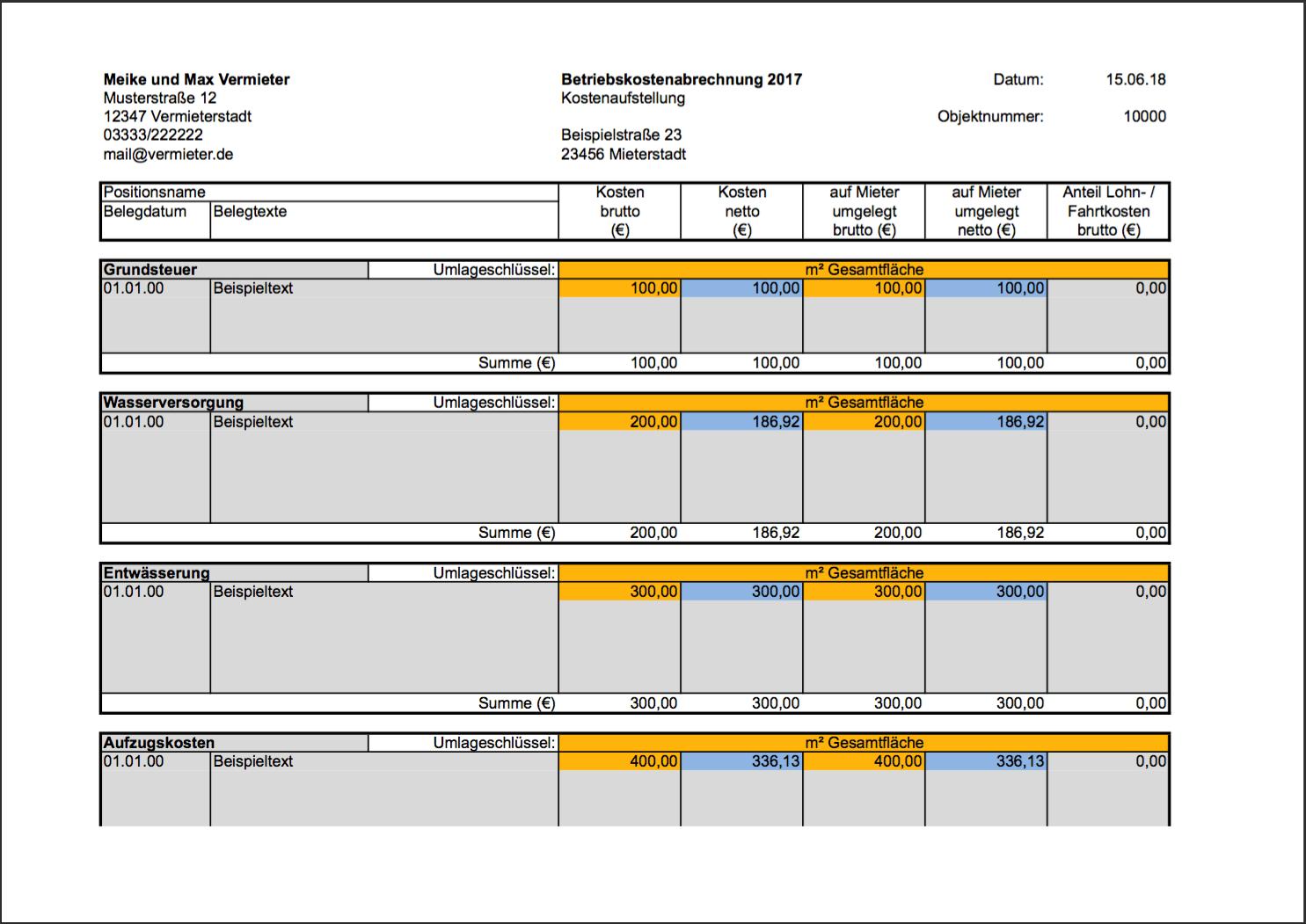 Vorlage Nebenkostenabrechnung In Excel Bis Zu 100 Mieter
